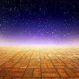 Brick floor and Star night for background in imagine. Brick floor and Star night for background Royalty Free Stock Photos