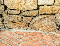 Brick floor and stone wall Royalty Free Stock Image