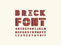 Brick font. Vector alphabet. Letters and numbers. Typeface design Royalty Free Stock Images