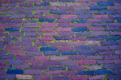 Brick footpath road background, texture with moss royalty free stock photography