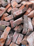 Brick fragments scattered on the ground royalty free stock images