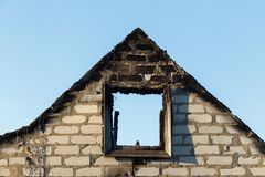 Brick fronton of the burned down building royalty free stock image