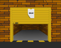 Brick garage with open sectional gates in perspective. Vector Stock Photography