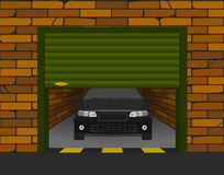 Brick garage with sectional doors open in perspective with the car inside. Vector Royalty Free Stock Image