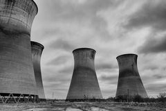 Brick Giant Cooling towers. All that remains of Willington Power Station, the tall silent brick ginats stock photography