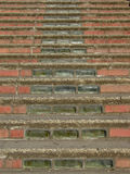 Brick and Glass Stairs. Brick stairs with glass brick detailing. Taken at a school in Tacoma, Washington, called Stadium High Stock Photo