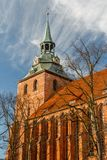 Brick Gothic church in the historic centre of Luneburg stock photography