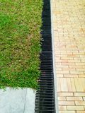 Brick  And grass pattern  background. Brick Pathway and grass Royalty Free Stock Photography