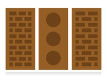 Brick with hall three variants. Isolated on white background, orange color Royalty Free Stock Image