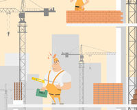 Brick on the helmet. When a brick fell on the head of the worker he was injured because he was in a helmet. Vector illustration Royalty Free Stock Images