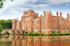 Brick Herstmonceux castle in England East Sussex 15th century. Brick Herstmonceux castle in England East Sussex of 15th century royalty free stock photos