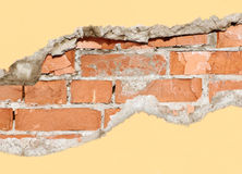 Brick hole. Fragment of broken wall Stock Image