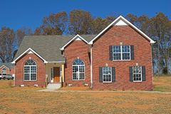 Brick Home. New brick home just completed,blue skys in background Royalty Free Stock Photos