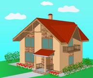 Brick home with decorative stone trim, illustration Royalty Free Stock Images