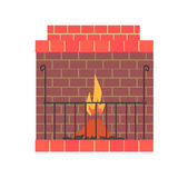Brick home fireplace with fire vector Illustration. Isolated on a white background Stock Photos