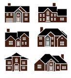 Brick home icons Royalty Free Stock Images