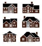 Brick home icons royalty free illustration