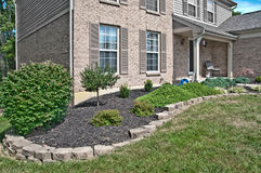 Brick Home Landscaping Beds Stock Photos