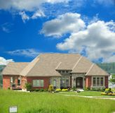 Brick Home For Sale On The Hill. Brick Upscale Ranch Home On The Hill For Sale Royalty Free Stock Photography
