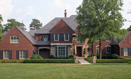 Brick House 2. Nice brick house with large lawn Stock Photo