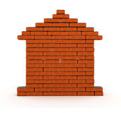 Brick house. Flat wall from a brick with cement 3d model Royalty Free Stock Image