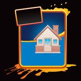 Brick house on blue halftone grungy ad Royalty Free Stock Photo