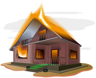 Brick house burns. Cottage fire. Vacation home. Property insurance. Illustration in vector format Stock Images