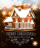 Brick house on Christmas background Stock Photography