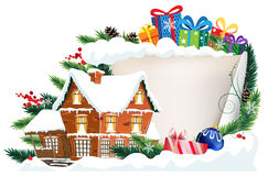 Brick house and Christmas gifts Royalty Free Stock Image