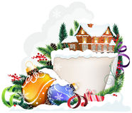 Brick house and Christmas ornaments Royalty Free Stock Photo