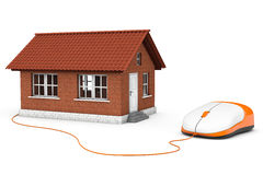 Brick House connected to a computer mouse Royalty Free Stock Photo