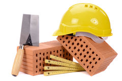 Brick for house construction and tools Royalty Free Stock Photos