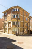 Brick house at the crossroad in the old town of Pomorie, Bulgaria Stock Photo