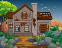 Brick house in the field. Illustration Stock Images