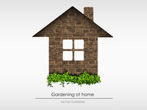Brick house with grass Stock Photo