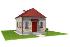 Brick house on the grass field. Is solated on a white Stock Images