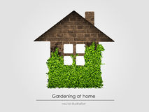Brick house with grass Royalty Free Stock Photo