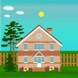 Brick house, illustration Royalty Free Stock Image