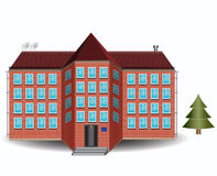 Brick house. Large apartment brick house near tree vector illustration