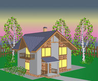 Brick house at night,illustration Royalty Free Stock Photo