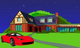 Brick House With Red Car Parked In Front. Brick house out in the country with a red sports car in front with a blue starry night royalty free illustration
