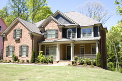 Brick House with Porch Royalty Free Stock Photos