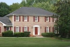 Brick House Red Trim Royalty Free Stock Photos