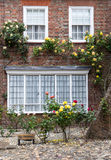 A brick house with roses on the front porch, seen in Rye, Kent, UK. Stock Image