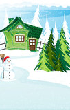 Brick  house and snowman with santa hat Stock Photography