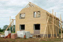 Brick house under construction Stock Image