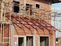 Brick house under construction Stock Photography