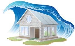 Brick house washes flood Stock Image