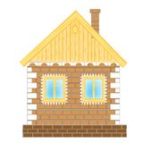 Brick house on white background Royalty Free Stock Images
