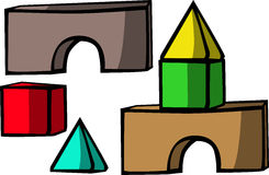 Brick house. wooden toy set Royalty Free Stock Photography